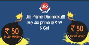Pocket Money – Get Jio Prime membership for free(Effective)